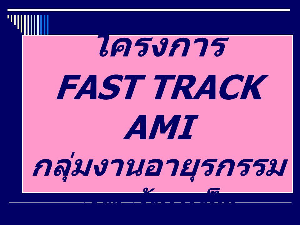 แสดงระยะเวลารอรับยา SK เปรียบเทียบในและนอก โครงการ Fast Track AMI