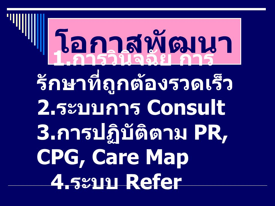 โอกาสพัฒนา 1. การวินิจฉัย การ รักษาที่ถูกต้องรวดเร็ว 2. ระบบการ Consult 3. การปฏิบัติตาม PR, CPG, Care Map 4. ระบบ Refer