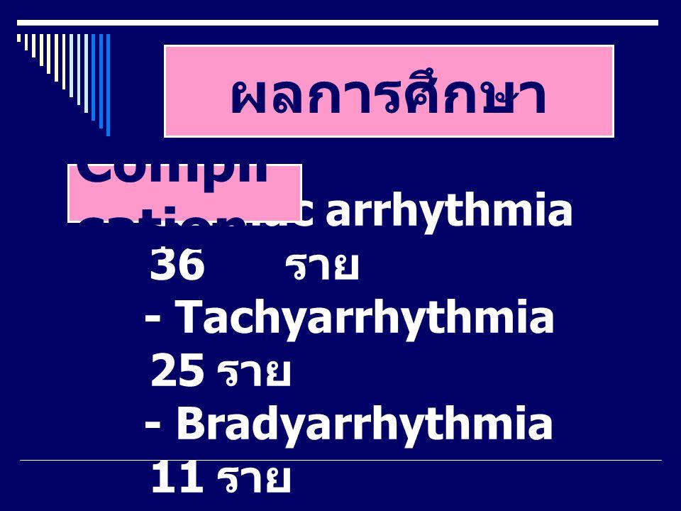 ผลการศึกษา Cardiac arrhythmia 36 ราย - Tachyarrhythmia 25 ราย - Bradyarrhythmia 11 ราย Compli cation
