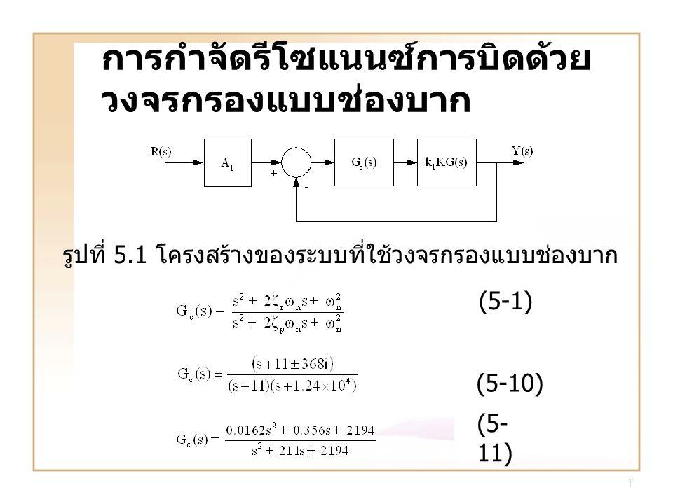 1 การกำจัดรีโซแนนซ์การบิดด้วย วงจรกรองแบบช่องบาก รูปที่ 5.1 โครงสร้างของระบบที่ใช้วงจรกรองแบบช่องบาก (5-1) (5-10) (5- 11)