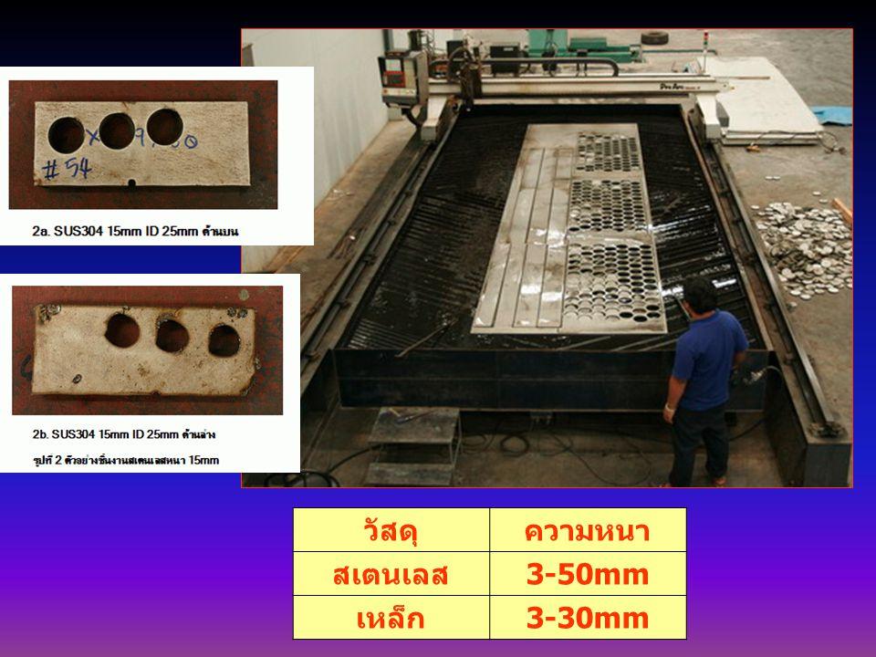 วัสดุความหนา สเตนเลส 3-50mm เหล็ก 3-30mm