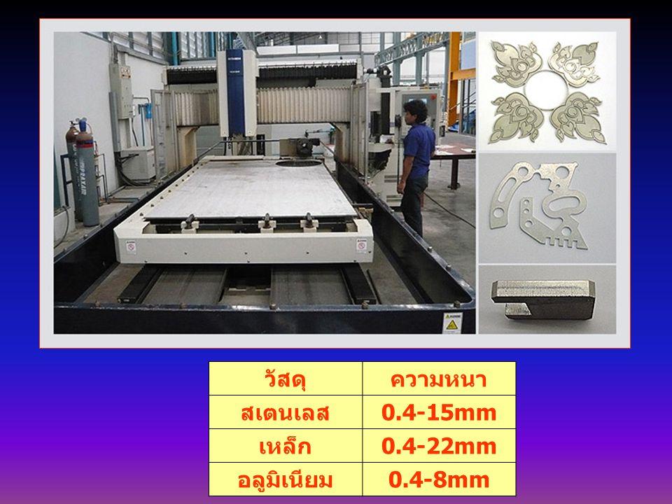 วัสดุความหนา สเตนเลส 0.4-15mm เหล็ก 0.4-22mm อลูมิเนียม 0.4-8mm
