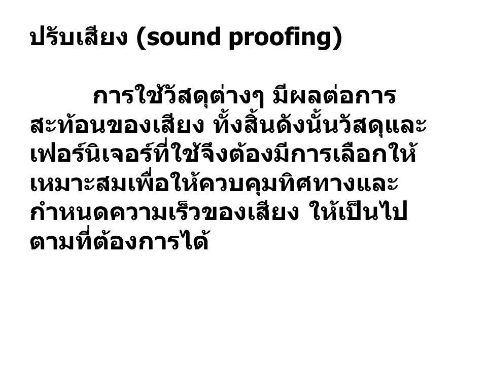 ปรับเสียง (sound proofing) การใช้วัสดุต่างๆ มีผลต่อการ สะท้อนของเสียง ทั้งสิ้นดังนั้นวัสดุและ เฟอร์นิเจอร์ที่ใช้จึงต้องมีการเลือกให้ เหมาะสมเพื่อให้คว