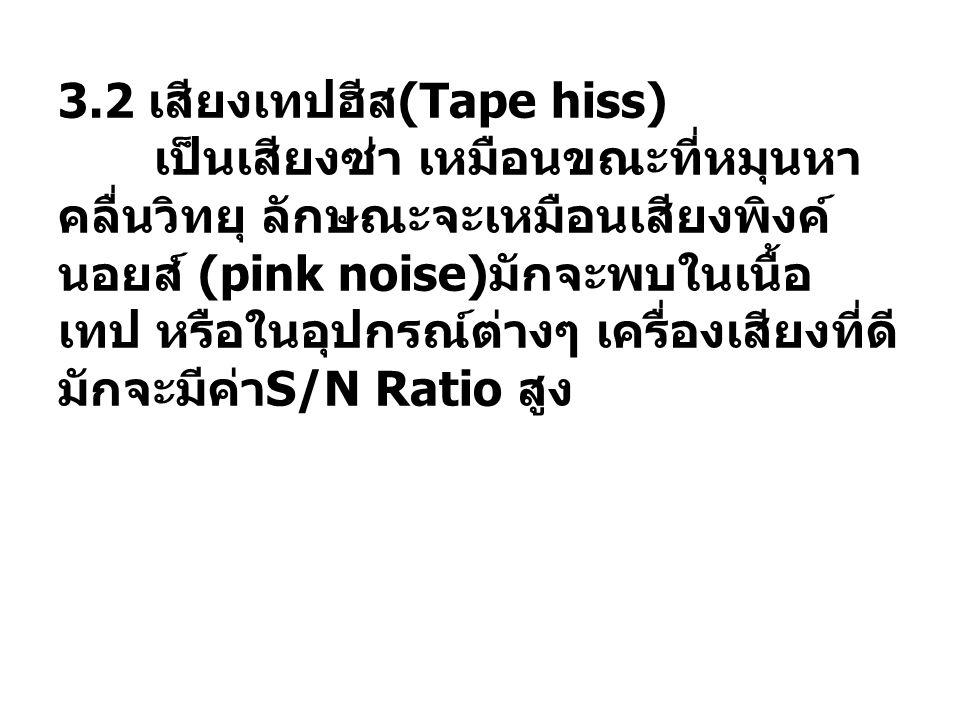 3.2 เสียงเทปฮีส (Tape hiss) เป็นเสียงซ่า เหมือนขณะที่หมุนหา คลื่นวิทยุ ลักษณะจะเหมือนเสียงพิงค์ นอยส์ (pink noise) มักจะพบในเนื้อ เทป หรือในอุปกรณ์ต่า