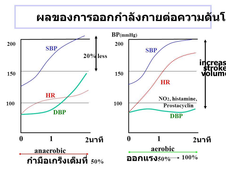 ผลของการออกกำลังกายต่อความดันโลหิต 100 150 200 01 2 นาที 100 150 200 01 2 นาที กำมือเกร็งเต็มที่ 50% anaerobic ออกแรง 50% 100% aerobic SBP DBP HR 20%