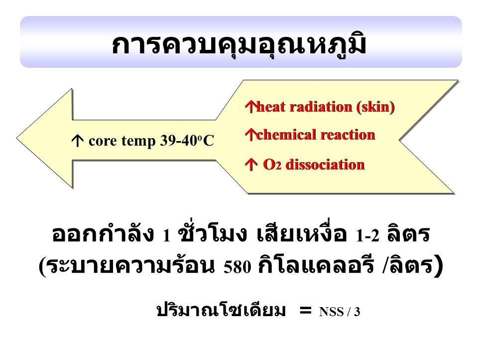 การควบคุมอุณหภูมิ ออกกำลัง 1 ชั่วโมง เสียเหงื่อ 1-2 ลิตร ( ระบายความร้อน 580 กิโลแคลอรี / ลิตร ) ปริมาณโซเดียม = NSS / 3  core temp 39-40 o C  heat