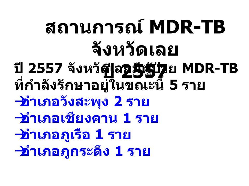 สถานการณ์ MDR-TB จังหวัดเลย ปี 2557 ปี 2557 จังหวัดเลยมีผู้ป่วย MDR-TB ที่กำลังรักษาอยู่ในขณะนี้ 5 ราย  อำเภอวังสะพุง 2 ราย  อำเภอเชียงคาน 1 ราย  อ