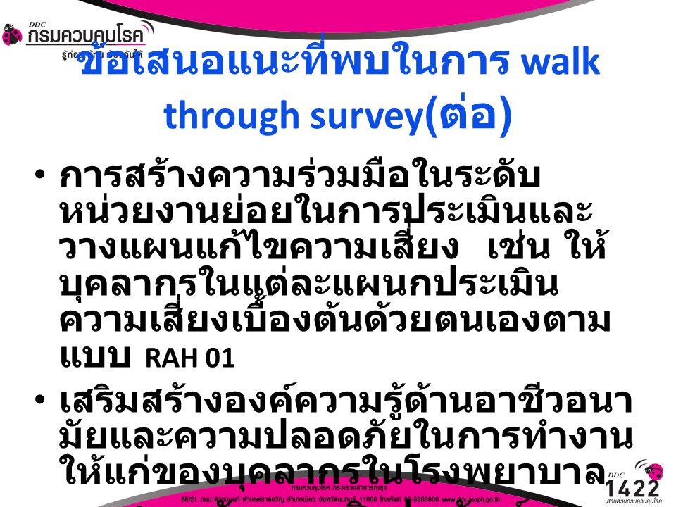 ข้อเสนอแนะที่พบในการ walk through survey ( ต่อ ) การสร้างความร่วมมือในระดับ หน่วยงานย่อยในการประเมินและ วางแผนแก้ไขความเสี่ยง เช่น ให้ บุคลากรในแต่ละแ