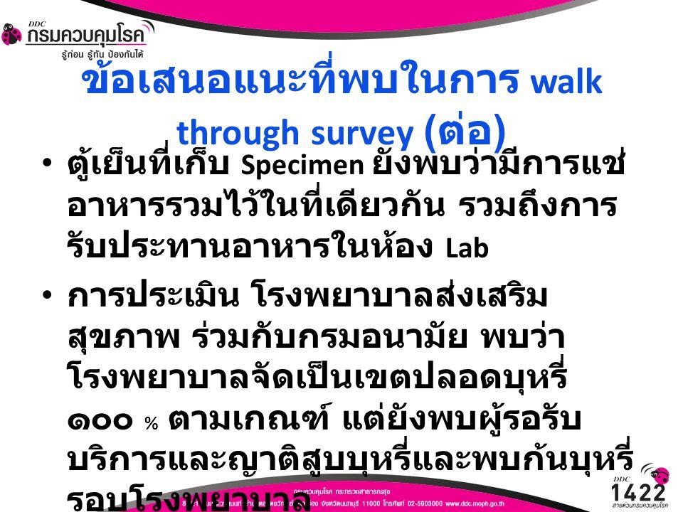 ข้อเสนอแนะที่พบในการ walk through survey ( ต่อ ) ตู้เย็นที่เก็บ Specimen ยังพบว่ามีการแช่ อาหารรวมไว้ในที่เดียวกัน รวมถึงการ รับประทานอาหารในห้อง Lab