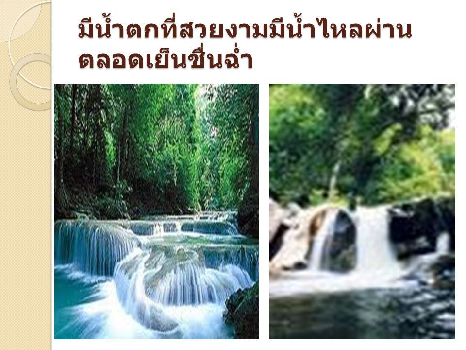 มีน้ำตกที่สวยงามมีน้ำไหลผ่าน ตลอดเย็นชื่นฉ่ำ