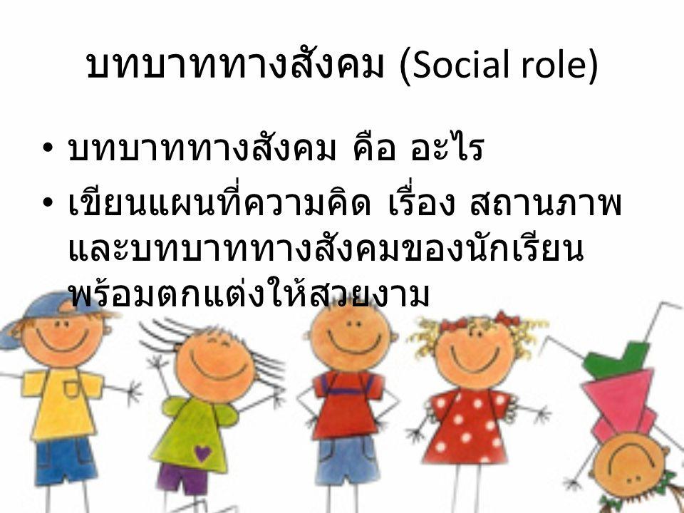 บทบาททางสังคม (Social role) บทบาททางสังคม คือ อะไร เขียนแผนที่ความคิด เรื่อง สถานภาพ และบทบาททางสังคมของนักเรียน พร้อมตกแต่งให้สวยงาม