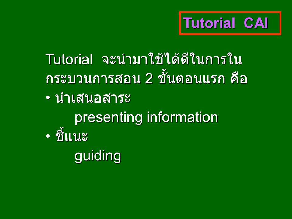 Tutorial CAI Tutorial จะนำมาใช้ได้ดีในการใน กระบวนการสอน 2 ขั้นตอนแรก คือ นำเสนอสาระ นำเสนอสาระ presenting information ชี้แนะ ชี้แนะguiding