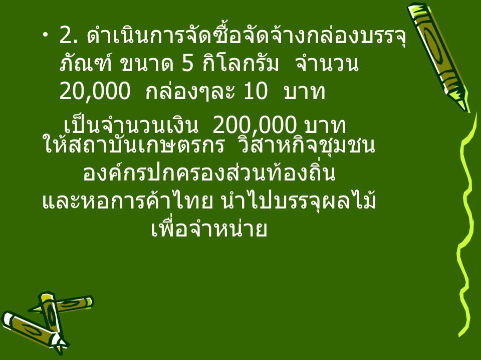 ให้สถาบันเกษตรกร วิสาหกิจชุมชน องค์กรปกครองส่วนท้องถิ่น และหอการค้าไทย นำไปบรรจุผลไม้ เพื่อจำหน่าย 2.