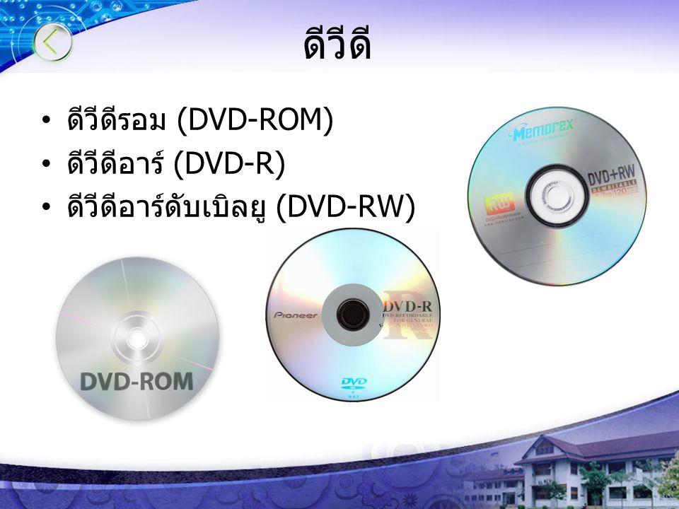 ดีวีดี ดีวีดีรอม (DVD-ROM) ดีวีดีอาร์ (DVD-R) ดีวีดีอาร์ดับเบิลยู (DVD-RW)