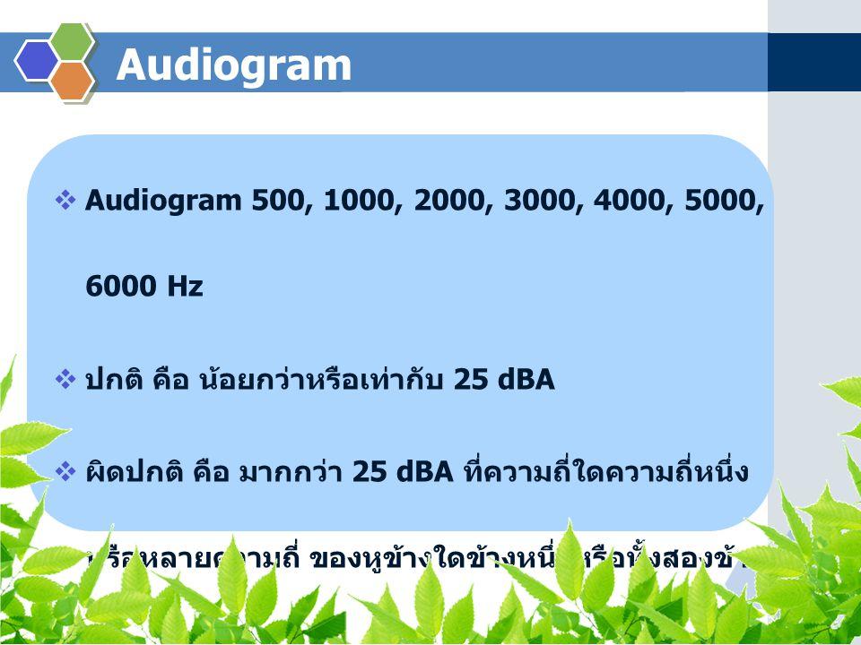 Audiogram  Audiogram 500, 1000, 2000, 3000, 4000, 5000, 6000 Hz  ปกติ คือ น้อยกว่าหรือเท่ากับ 25 dBA  ผิดปกติ คือ มากกว่า 25 dBA ที่ความถี่ใดความถี