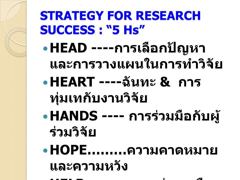 "STRATEGY FOR RESEARCH SUCCESS : ""5 Hs"" HEAD ---- การเลือกปัญหา และการวางแผนในการทำวิจัย HEART ---- ฉันทะ & การ ทุ่มเทกับงานวิจัย HANDS ---- การร่วมมือ"
