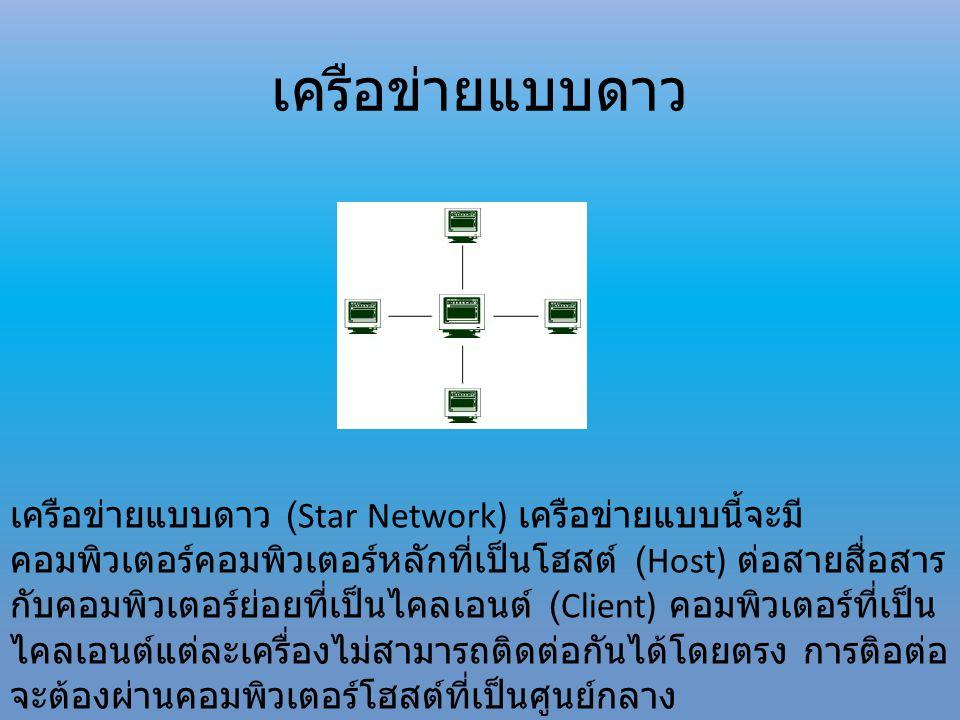 เครือข่ายแบบดาว (Star Network) เครือข่ายแบบนี้จะมี คอมพิวเตอร์คอมพิวเตอร์หลักที่เป็นโฮสต์ (Host) ต่อสายสื่อสาร กับคอมพิวเตอร์ย่อยที่เป็นไคลเอนต์ (Clie