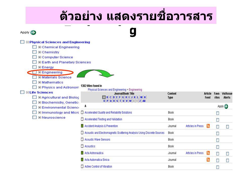ตัวอย่าง แสดงรายชื่อวารสาร สาขา Engineering