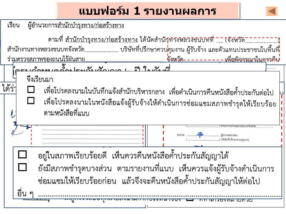 แบบฟอร์ม 1 รายงานผลการ ตรวจสอบ ( สกท. / สบร.)