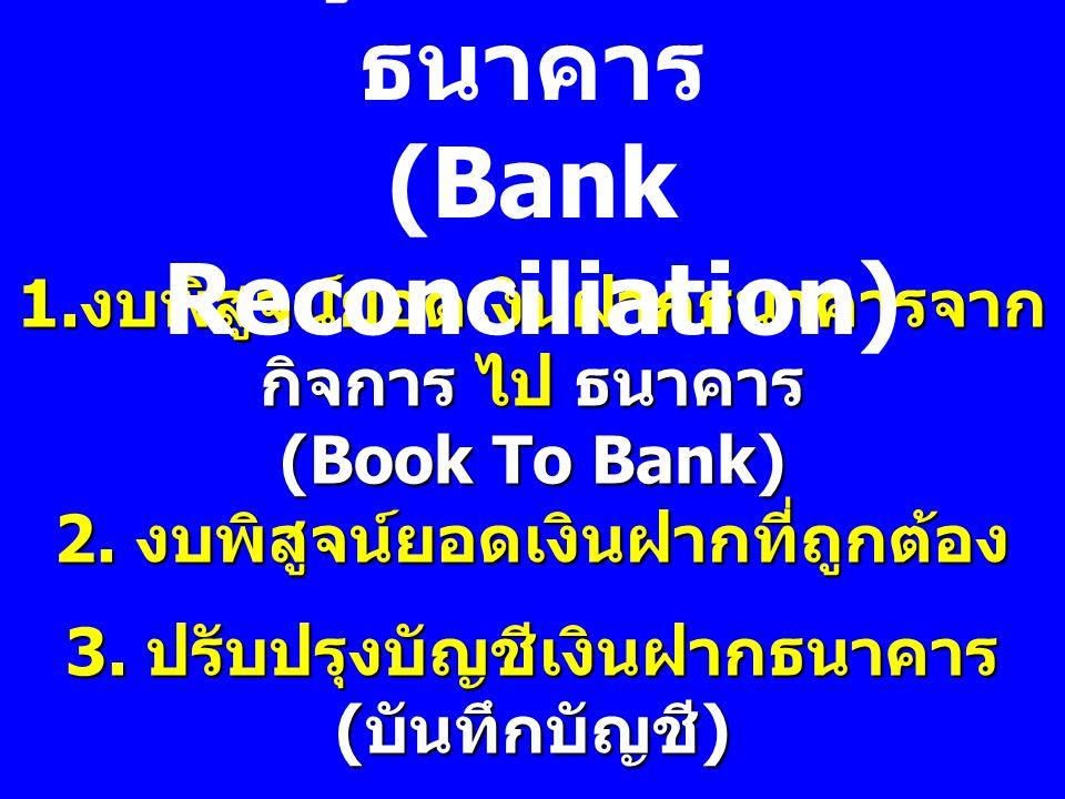 1. งบพิสูจน์ยอดเงินฝากธนาคารจาก กิจการ ไป ธนาคาร (Book To Bank) 2. งบพิสูจน์ยอดเงินฝากที่ถูกต้อง 3. ปรับปรุงบัญชีเงินฝากธนาคาร ( บันทึกบัญชี ) การพิสู