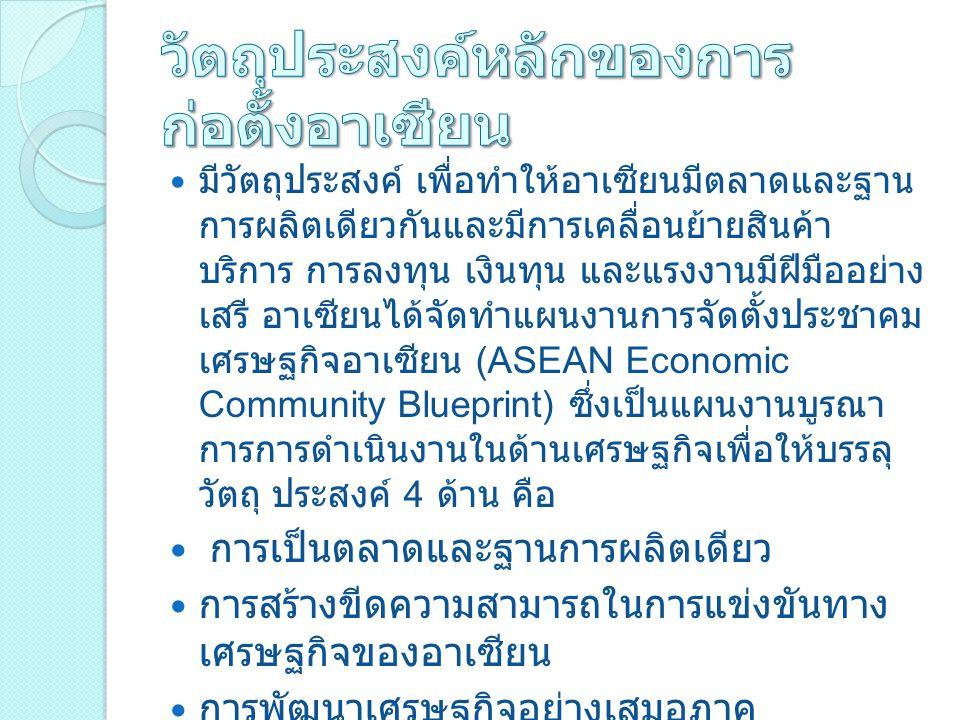 มีวัตถุประสงค์ เพื่อทำให้อาเซียนมีตลาดและฐาน การผลิตเดียวกันและมีการเคลื่อนย้ายสินค้า บริการ การลงทุน เงินทุน และแรงงานมีฝีมืออย่าง เสรี อาเซียนได้จัดทำแผนงานการจัดตั้งประชาคม เศรษฐกิจอาเซียน (ASEAN Economic Community Blueprint) ซึ่งเป็นแผนงานบูรณา การการดำเนินงานในด้านเศรษฐกิจเพื่อให้บรรลุ วัตถุ ประสงค์ 4 ด้าน คือ การเป็นตลาดและฐานการผลิตเดียว การสร้างขีดความสามารถในการแข่งขันทาง เศรษฐกิจของอาเซียน การพัฒนาเศรษฐกิจอย่างเสมอภาค การบูรณาการเข้ากับเศรษฐกิจโลก