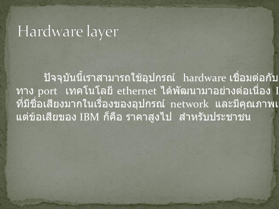 ปัจจุบันนี้เราสามารถใช้อุปกรณ์ hardware เชื่อมต่อกับ ethernet ทาง port เทคโนโลยี ethernet ได้พัฒนามาอย่างต่อเนื่อง IBM เป็นบริษัท ที่มีชื่อเสียงมากในเรื่องของอุปกรณ์ network และมีคุณภาพเป็นอย่างมาก แต่ข้อเสียของ IBM ก็คือ ราคาสูงไป สำหรับประชาชน