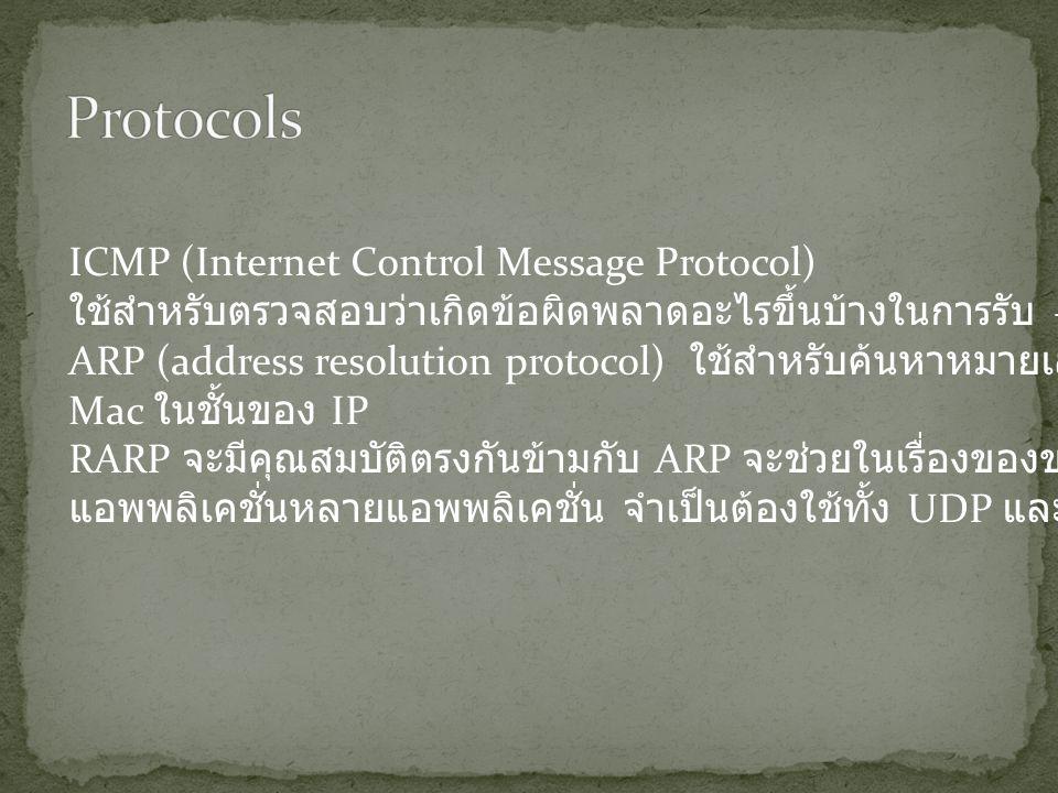 ICMP (Internet Control Message Protocol) ใช้สำหรับตรวจสอบว่าเกิดข้อผิดพลาดอะไรขึ้นบ้างในการรับ – ส่ง ข้อมูล ARP (address resolution protocol) ใช้สำหรับค้นหาหมายเลข Mac ในชั้นของ IP RARP จะมีคุณสมบัติตรงกันข้ามกับ ARP จะช่วยในเรื่องของของแผนที่ IP แอพพลิเคชั่นหลายแอพพลิเคชั่น จำเป็นต้องใช้ทั้ง UDP และ TCP