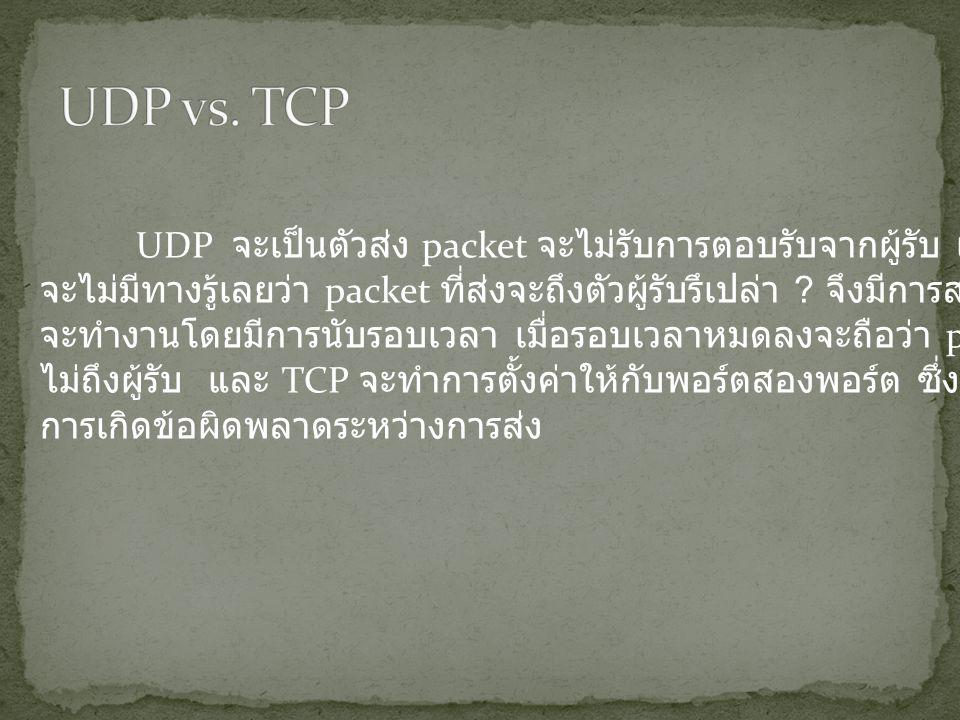 UDP จะเป็นตัวส่ง packet จะไม่รับการตอบรับจากผู้รับ เพราะฉะนั้น จะไม่มีทางรู้เลยว่า packet ที่ส่งจะถึงตัวผู้รับรึเปล่า .