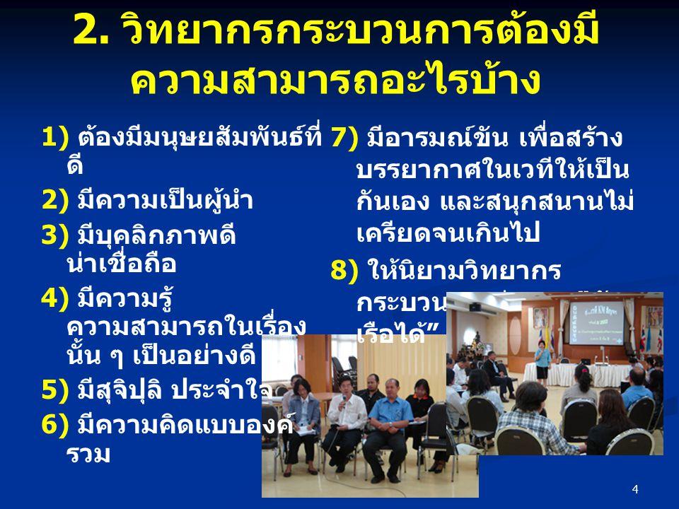 4 2. วิทยากรกระบวนการต้องมี ความสามารถอะไรบ้าง 1) ต้องมีมนุษยสัมพันธ์ที่ ดี 2) มีความเป็นผู้นำ 3) มีบุคลิกภาพดี น่าเชื่อถือ 4) มีความรู้ ความสามารถในเ
