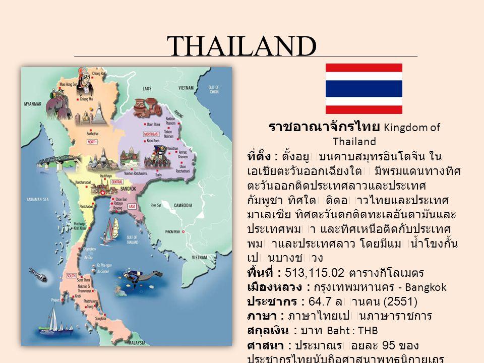 ราชอาณาจักรไทย Kingdom of Thailand ที่ตั้ง : ตั้งอยูบนคาบสมุทรอินโดจีน ใน เอเชียตะวันออกเฉียงใต มีพรมแดนทางทิศ ตะวันออกติดประเทศลาวและประเทศ กัมพูชา ทิศใตติดอาวไทยและประเทศ มาเลเซีย ทิศตะวันตกติดทะเลอันดามันและ ประเทศพมา และทิศเหนือติดกับประเทศ พมาและประเทศลาว โดยมีแมน้ำโขงกั้น เปนบางชวง พื้นที่ : 513,115.02 ตารางกิโลเมตร เมืองหลวง : กรุงเทพมหานคร - Bangkok ประชากร : 64.7 ลานคน (2551) ภาษา : ภาษาไทยเปนภาษาราชการ สกุลเงิน : บาท Baht : THB ศาสนา : ประมาณรอยละ 95 ของ ประชากรไทยนับถือศาสนาพุทธนิกายเถร วาท ซึ่งเปนศาสนาประจำชาติโดยพฤตินัย ภูมิอากาศ : เปนแบบเขตรอน ระบอบการปกครอง : ระบอบประชาธิปไตย แบบรัฐสภา อันมีพระมหากษัตริยทรงเป นประมุข