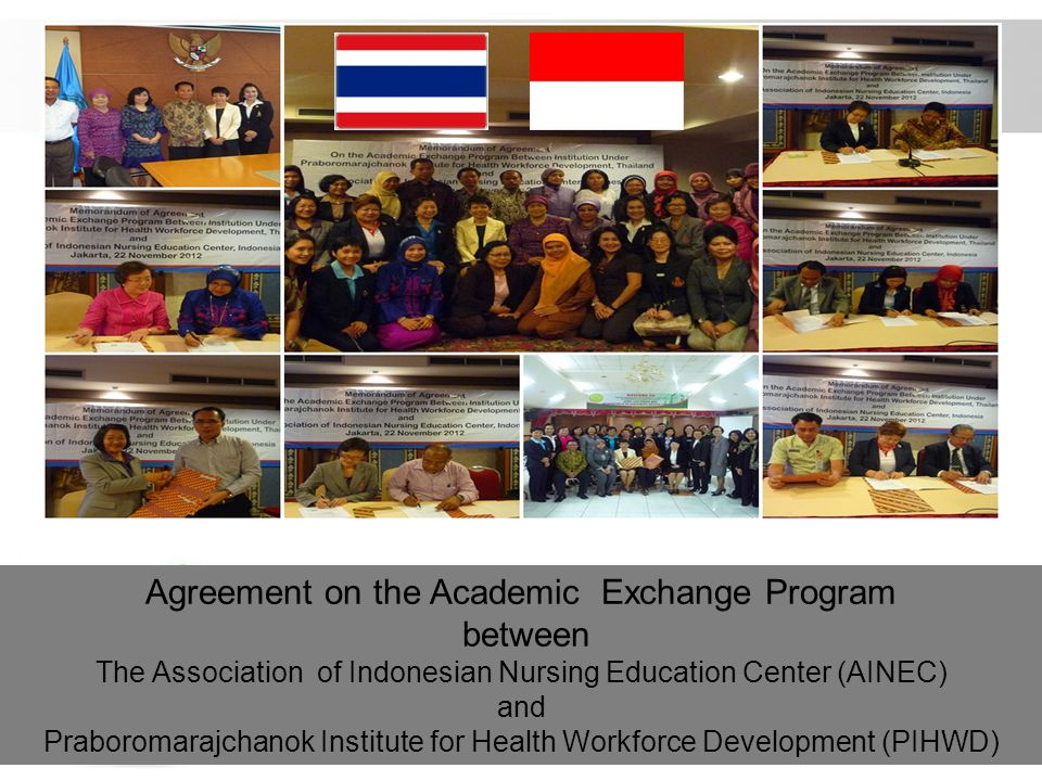 Free Powerpoint Templates Page 26 Agreement on the Academic Exchange Program between The Association of Indonesian Nursing Education Center (AINEC) an