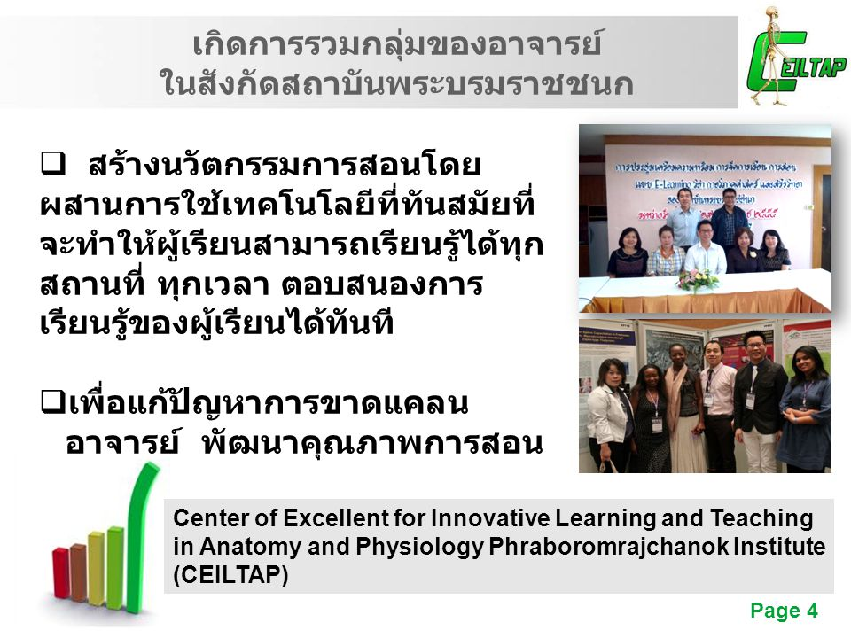 Free Powerpoint Templates Page 4 เกิดการรวมกลุ่มของอาจารย์ ในสังกัดสถาบันพระบรมราชชนก Center of Excellent for Innovative Learning and Teaching in Anat