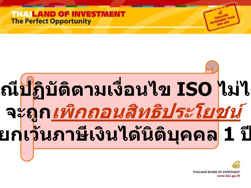 กรณีปฏิบัติตามเงื่อนไข ISO ไม่ได้ จะถูกเพิกถอนสิทธิประโยชน์ ยกเว้นภาษีเงินได้นิติบุคคล 1 ปี
