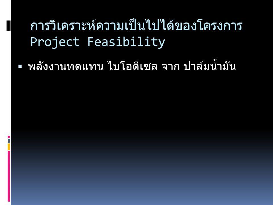 การวิเคราะห์ความเป็นไปได้ของโครงการ Project Feasibility  พลังงานทดแทน ไบโอดีเซล จาก ปาล์มน้ำมัน