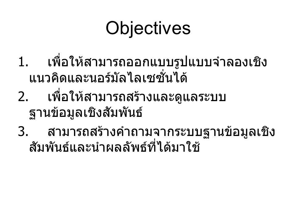Objectives 1. เพื่อให้สามารถออกแบบรูปแบบจำลองเชิง แนวคิดและนอร์มัลไลเซซั่นได้ 2.