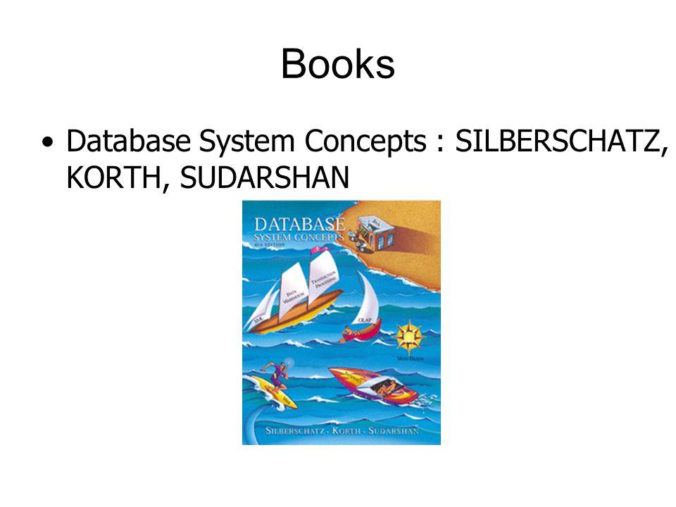 Books Database System Concepts : SILBERSCHATZ, KORTH, SUDARSHAN