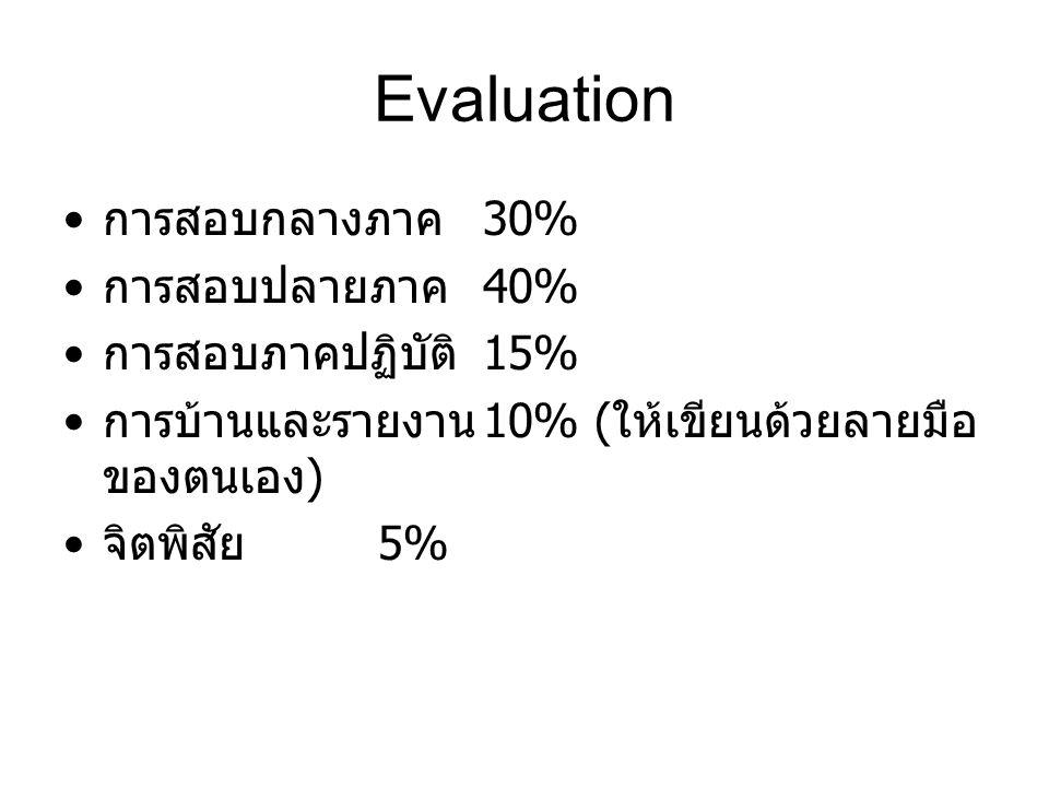 Evaluation การสอบกลางภาค 30% การสอบปลายภาค 40% การสอบภาคปฏิบัติ 15% การบ้านและรายงาน 10% ( ให้เขียนด้วยลายมือ ของตนเอง ) จิตพิสัย 5%