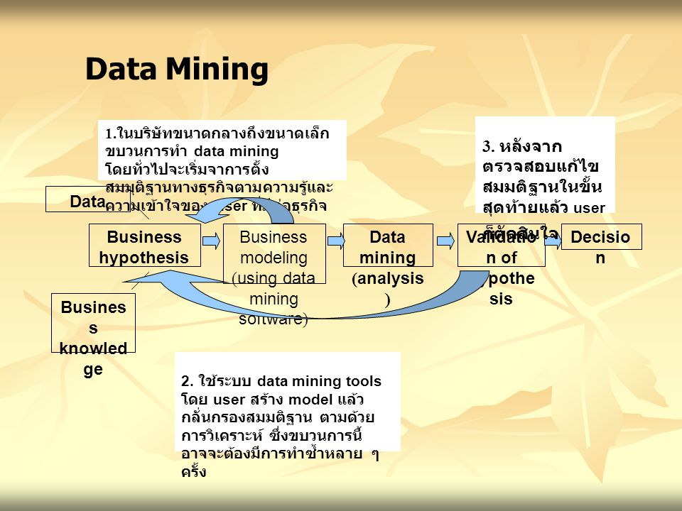 Data Busines s knowle dge Business hypothesis Business modeling (using data mining software) Data mining (analysis ) Validati on of hypothe sis Decisi