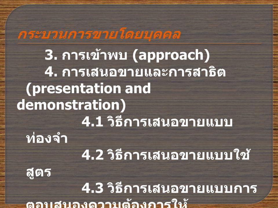 กระบวนการขายโดยบุคคล 3.การเข้าพบ (approach) 4.