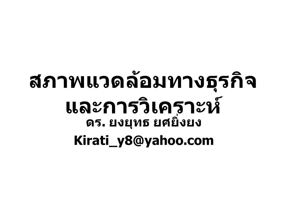 สภาพแวดล้อมทางธุรกิจ และการวิเคราะห์ ดร. ยงยุทธ ยศยิ่งยง Kirati_y8@yahoo.com