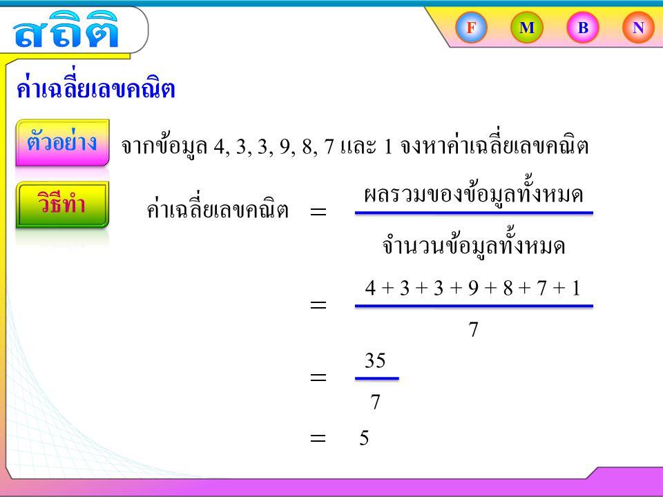 35 4 + 3 + 3 + 9 + 8 + 7 + 1 FMBN ค่าเฉลี่ยเลขคณิต จากข้อมูล 4, 3, 3, 9, 8, 7 และ 1 จงหาค่าเฉลี่ยเลขคณิต ค่าเฉลี่ยเลขคณิต ผลรวมของข้อมูลทั้งหมด จำนวนข้อมูลทั้งหมด 7 7 5