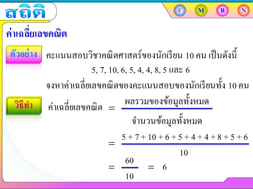 FMBN ค่าเฉลี่ยเลขคณิต คะแนนสอบวิชาคณิตศาสตร์ของนักเรียน 10 คน เป็นดังนี้ ค่าเฉลี่ยเลขคณิต ผลรวมของข้อมูลทั้งหมด จำนวนข้อมูลทั้งหมด 5 + 7 + 10 + 6 + 5 + 4 + 4 + 8 + 5 + 6 10 60 10 6 5, 7, 10, 6, 5, 4, 4, 8, 5 และ 6 จงหาค่าเฉลี่ยเลขคณิตของคะแนนสอบของนักเรียนทั้ง 10 คน