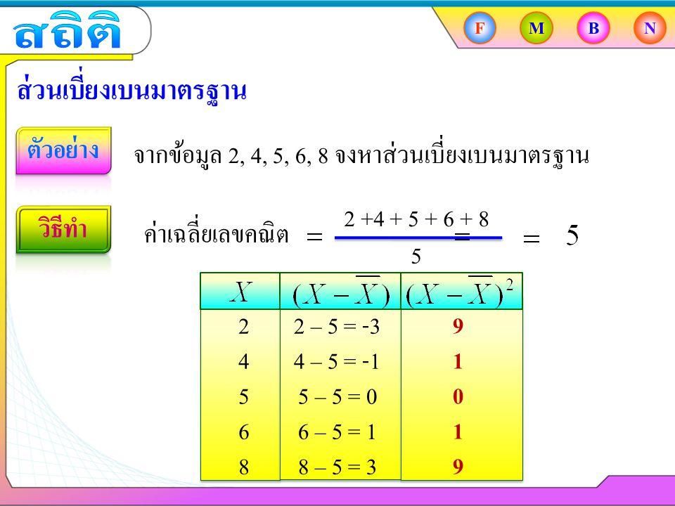 FMBN ส่วนเบี่ยงเบนมาตรฐาน จากข้อมูล 2, 4, 5, 6, 8 จงหาส่วนเบี่ยงเบนมาตรฐาน ค่าเฉลี่ยเลขคณิต 2 +4 + 5 + 6 + 8 5 2 4 5 8 6 2 – 5 = -3 4 – 5 = -1 5 – 5 = 0 8 – 5 = 3 6 – 5 = 1 9 1 0 9 1
