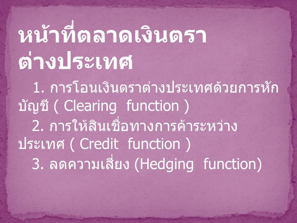 หน้าที่ตลาดเงินตรา ต่างประเทศ 1. การโอนเงินตราต่างประเทศด้วยการหัก บัญชี ( Clearing function ) 2. การให้สินเชื่อทางการค้าระหว่าง ประเทศ ( Credit funct