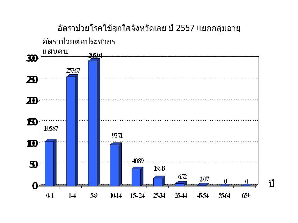 อัตราป่วยโรคไข้สุกใสจังหวัดเลย ปี 2557 แยกกลุ่มอายุ ปี อัตราป่วยต่อประชากร แสนคน