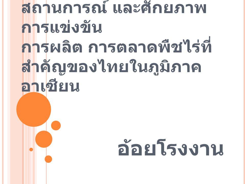 สถานการณ์ และศักยภาพ การแข่งขัน การผลิต การตลาดพืชไร่ที่ สำคัญของไทยในภูมิภาค อาเซียน อ้อยโรงงาน