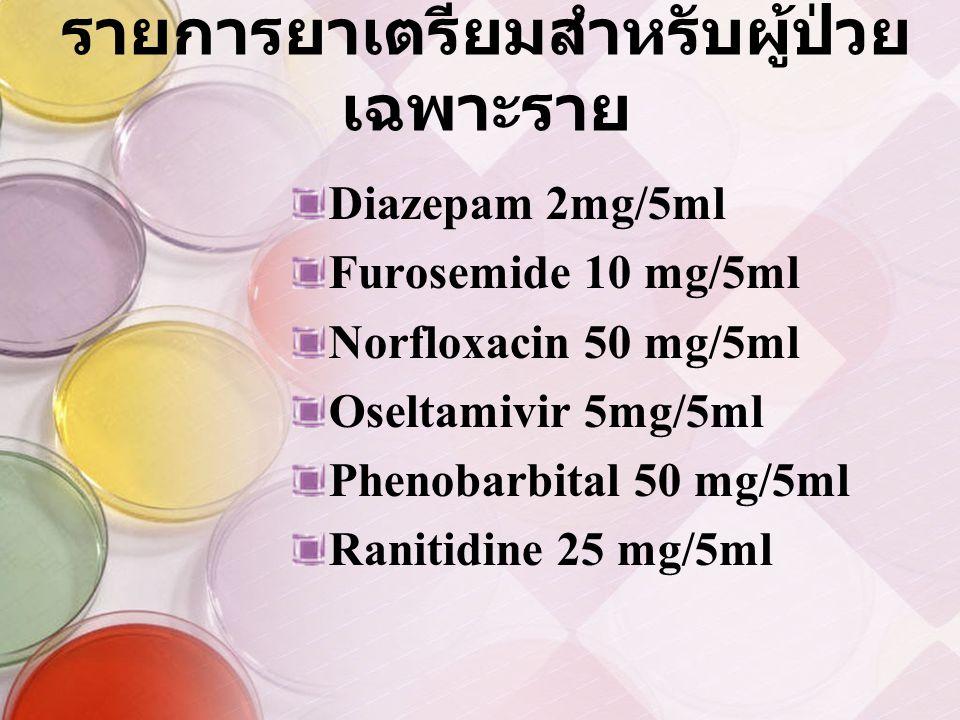 รายการยาเตรียมสำหรับผู้ป่วย เฉพาะราย Diazepam 2mg/5ml Furosemide 10 mg/5ml Norfloxacin 50 mg/5ml Oseltamivir 5mg/5ml Phenobarbital 50 mg/5ml Ranitidine 25 mg/5ml