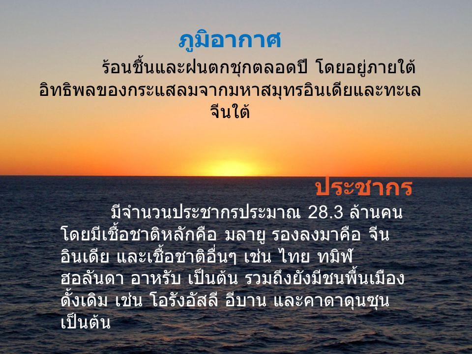 ภูมิประเทศ ประเทศมาเลเซียประกอบด้วยพื้นที่ 2 ส่วนโดย มีทะเลจีนใต้กั้น * มาเลเซียตะวันตก ตั้งอยู่บนคาบสมุทรมลายู มีพรมแดนทิศเหนือ ติดกับไทย และทิศใต้ติดกับสิงคโปร์ โดย ประกอบด้วย 11 รัฐ คือ ปะหัง สลังงอร์ เนกรีเซมบิลัน มะละกา ยะโฮร์ เประ กลันตัน ตรังกานู ปีนัง เกดะห์ และปะลิส และ 1 เขตที่ปกครองโดยรัฐบาลกลาง คือ เกาะลาบวน * มาเลเซียตะวันออก ตั้งอยู่ทางตอนเหนือของเกาะบอร์เนียว ( กาลิ มันตัน ) มีพรมแดนทิศใต้ติดกับอินโดนีเซียทั้งหมด ประกอบด้วย 2 รัฐ คือ ซาบาร์ และซาราวัก และ 2 เขตที่ปกครองโดยรัฐบาลกลาง คือ กัวลาลัมเปอร์ ( เมืองหลวง ) ปุตราจายา ( เมืองราชการ )