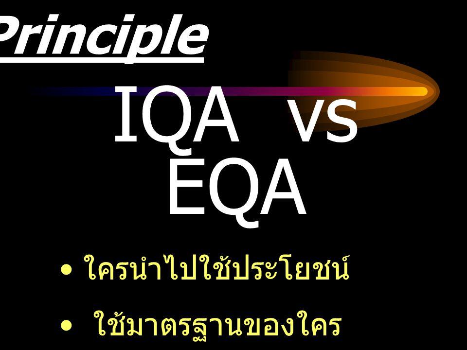 Principle IQA vs EQA ใครนำไปใช้ประโยชน์ ใช้มาตรฐานของใคร ความเหมือนที่แตกต่างใน การพัฒนา