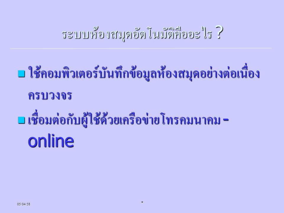05/04/58* ระบบห้องสมุดอัตโนมัติคืออะไร ? ใช้คอมพิวเตอร์บันทึกข้อมูลห้องสมุดอย่างต่อเนื่อง ครบวงจร ใช้คอมพิวเตอร์บันทึกข้อมูลห้องสมุดอย่างต่อเนื่อง ครบ